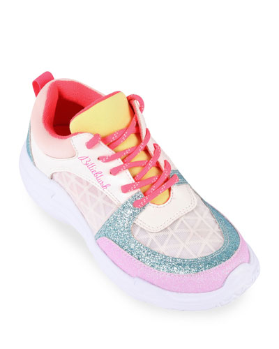 Girl's Multicolored Chunky Sole Lace-Up Sneakers, Size Toddler/Kids