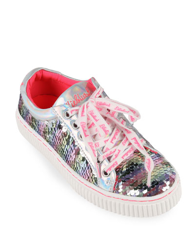 Girl's Flip Sequin Lace-Up Sneakers, Toddler/Kids