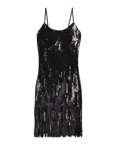 Girl's Ayleen Sequin Fringe Dress, Size 7-16