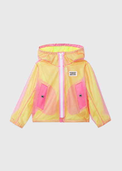 Girl's Bardy Transparent Logo Raincoat, Size 3-14