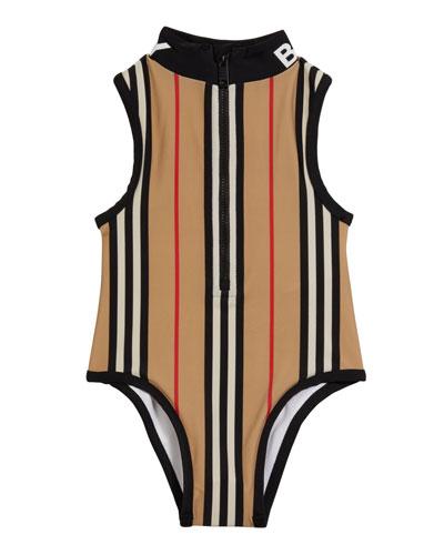 Girl's Siera Archive Stripe One-Piece Swimsuit, Size 3-14