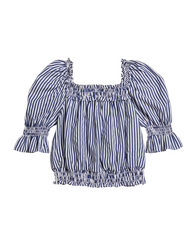 Girl's Striped Puff-Sleeve Top, Size 7-14