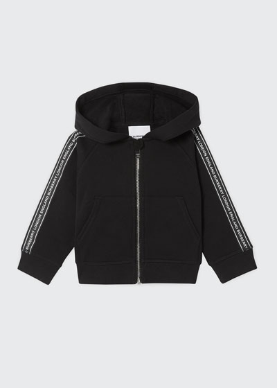 Boy's Corwyn Logo Tape Zip-Front Hoodie Jacket, Size 6M-2