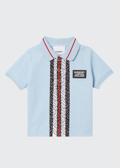 Boy's Joseph Monogram Stripe Trim Polo Shirt, Size 3-14