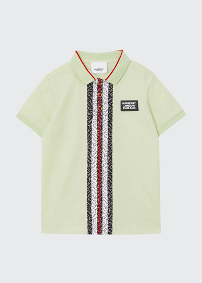 Boy's Joseph Monogram Stripe Cotton Pique Polo Shirt, Size 3-14