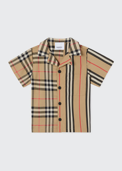 Boy's Jay Vintage Check & Icon Stripe Cotton Shirt, Size 6M-2