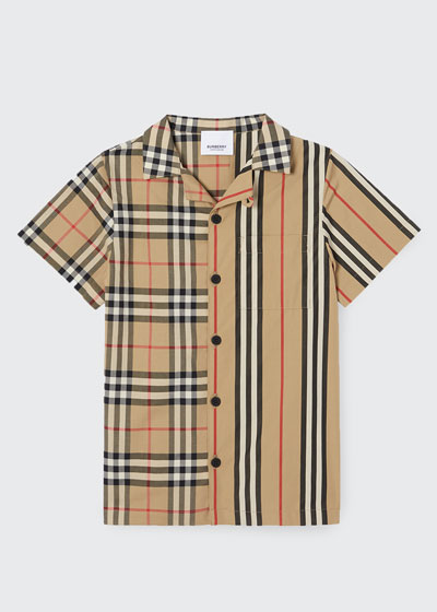 Boy's Jay Vintage Check & Icon Stripe Cotton Shirt, Size 3-14