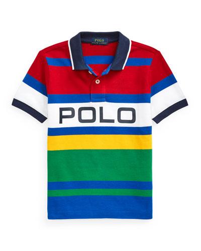 Boy's Logo Colorblock Striped Polo Shirt, Size 5-7