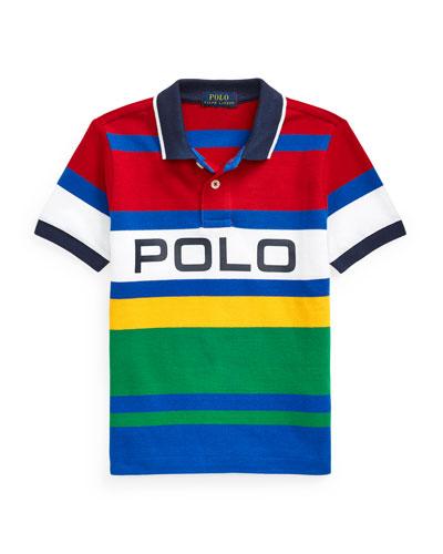 Boy's Logo Colorblock Striped Polo Shirt, Size 2-4