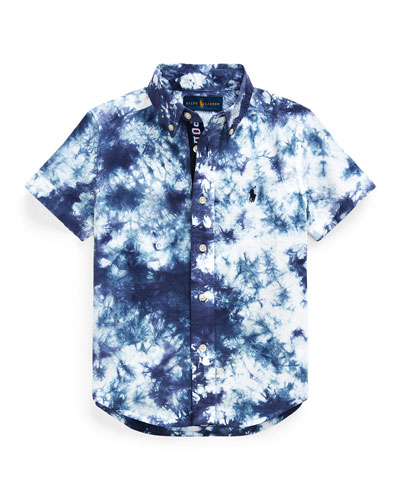 Boy's Tie Dyed Poplin Button-Down Shirt, Size 2-4