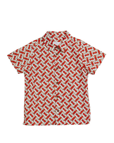Boy's Desmond Monogram-Print Shirt, Size 3-14