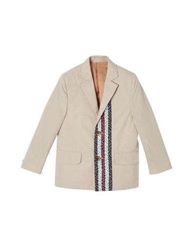 Boy's Ali Monogram Trim Cotton Jacket, Size 3-14