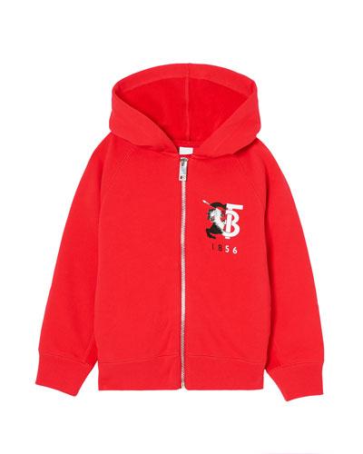 Boy's Henry Logo Zip-Up Hooded Fleece Jacket, Size 3-14