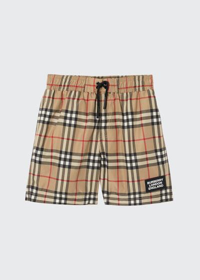 Boy's Kameron Check Swim Trunks, Size 3-14