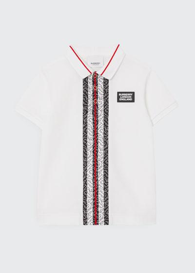 Boy's Joseph Monogram Stripe Pique Polo Shirt, Size 3-14