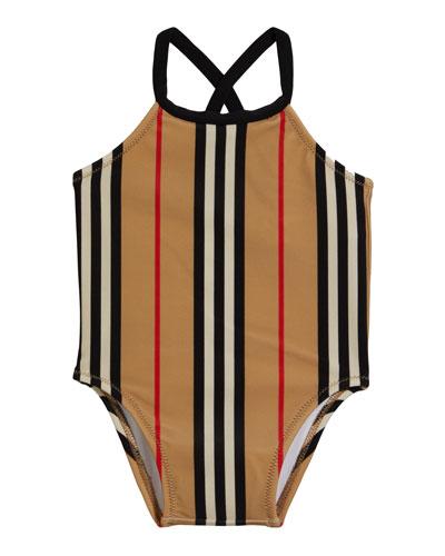 Girl's Crina Icon Stripe One-Piece Swimsuit, Size 6M-3