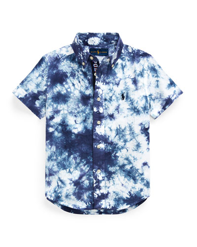 Boy's Tie Dyed Poplin Button-Down Shirt, Size 5-7