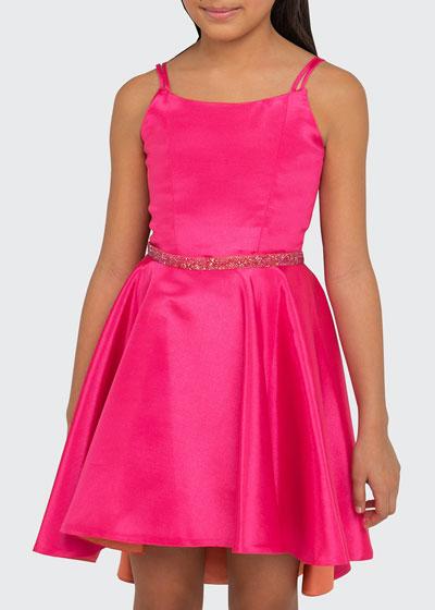 Girl's Demi Two-Tone Matte Sateen High-Low Sleeveless Dress, Size 7-16