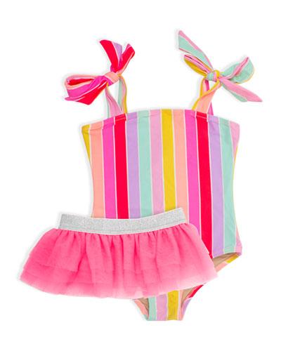 Girl's Rainbow Stripe One-Piece Swimsuit w/ Tutu, Size 2-6