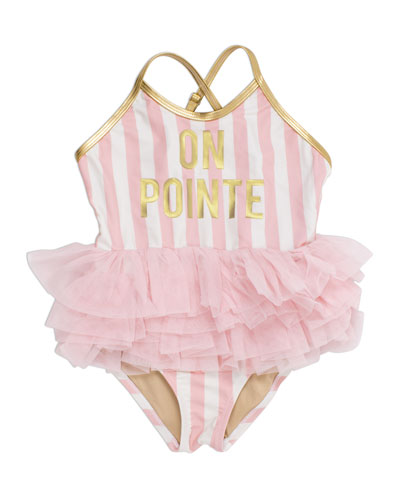 Girl's On Pointe Striped Ruffle-Skirt One-Piece Swimsuit, Size 2-6