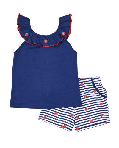 Girl's Strawberry Ruffle-Neck Top w/ Striped Shorts, Size 6X-6