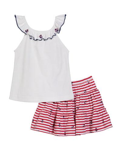 Girl's Anchor-Print Sailor Tunic w/ Solid Capri Pants, 12M-24M