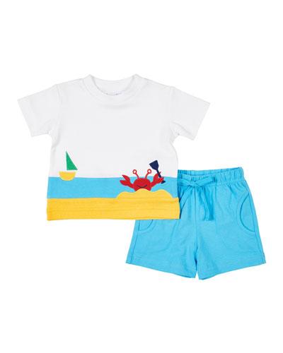 Boy's Crap Applique T-Shirt w/ Solid Shorts, Size 4T-3