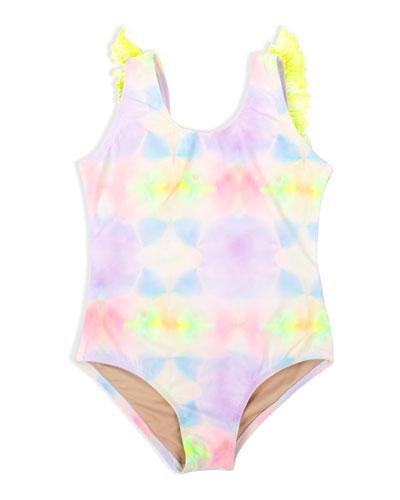 Girl's Multi Tie Dye Fringe Back One-Piece Swimsuit, Size 2-10
