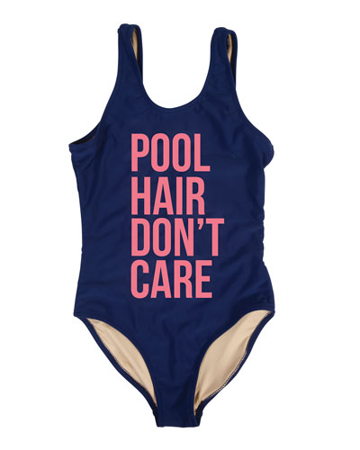 Girl's Pool Hair Don't Care One-Piece Swimsuit, Size 7-14
