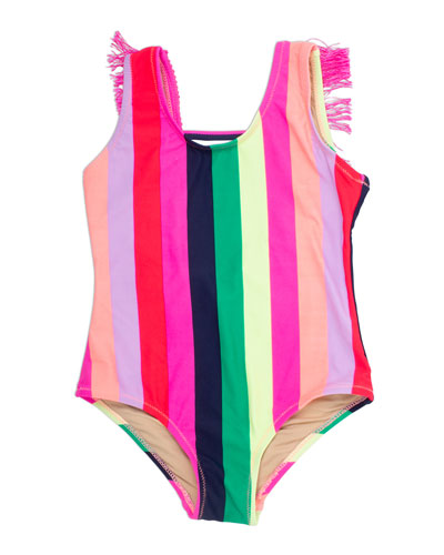 Girl's Multi Stripe Fringe-Back One-Piece Swimsuit, Size 4-14