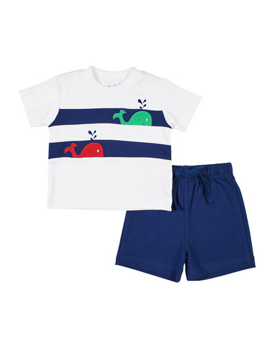 Whale T-Shirt w/ Solid Shorts, Size 2-4T