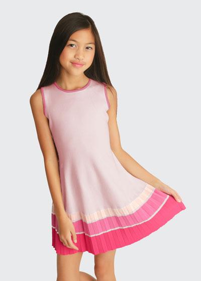 Girl's Sleeveless Ombre Stripe Pleated Swing Hem Dress, Size 6X-16