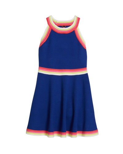 Girl's Rainbow Striped-Trim Halter Dress, Size 6X-16