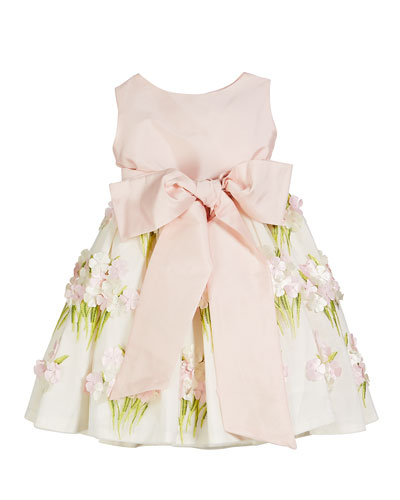 Solid Bow Front Dress w/ Floral Bouquet Skirt, Size 12M-4T