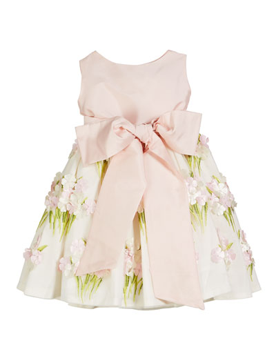 Solid Bow Front Dress w/ Floral Bouquet Skirt, Size 4-6X