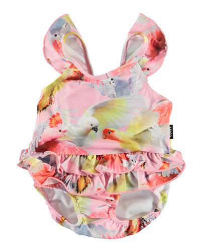 Girl's Nalani Ruffle-Trim One-Piece Swimsuit, Size 3M-3