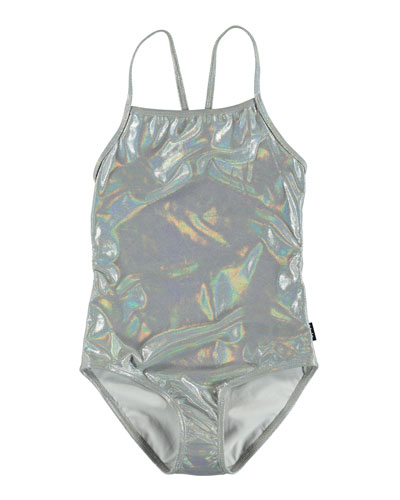 Girl's Neda Silver Holographic One-Piece Swimsuit, Size 5-12