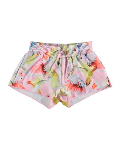 Girl's Nicci Birds Print Drawstring Swim Shorts, Size 3T-12