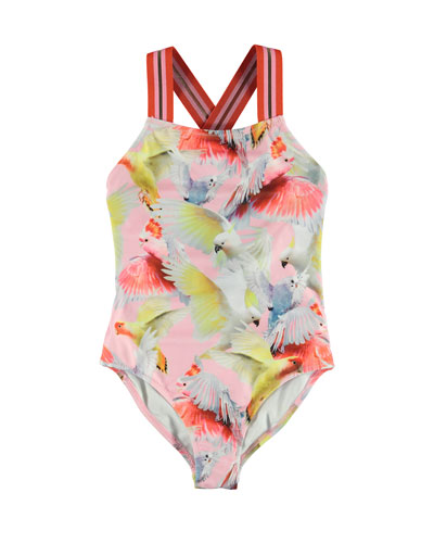 Girl's Neve Birds Print Sports Strap One-Piece Swimsuit, Size 4-12