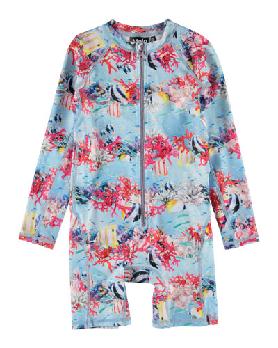 Girl's Neka Deep Sea Print Zip-Front Long-Sleeve Swimsuit, Size 9M-3