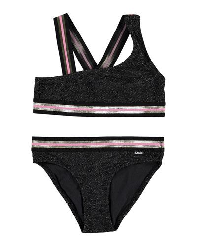 Girl's Nicola Metallic Two-Piece Bikini Set, Size 5-14