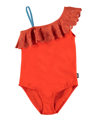 Girl's Net Laser-Cut Frill One-Piece Swimsuit, Size 4-12