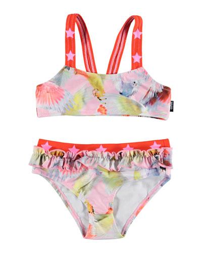 Girl's Naila Star Strap Two-Piece Bikini Set, Size 3T-10