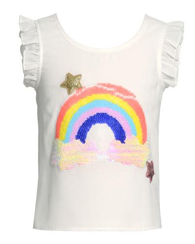 Girl's Rainbow Flutter-Sleeve Top, Size 4-6X