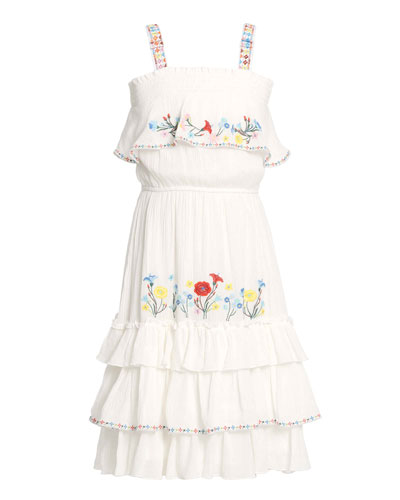Girl's Tiered Floral Embroidery Dress, Size 7-14