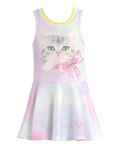 Girl's Sleeveless Cat Motif Dress, Size 4-6X