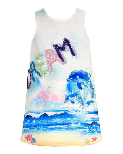 Girl's Dream Dolphin-Print Dress, Size 7-14