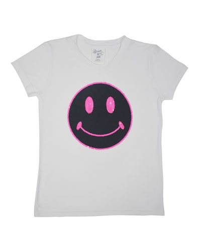 Girl's Smiley Face Graphic Tee, Size S-XL