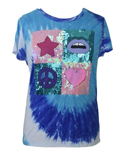 Girl's Sequin Embellished Tie-Die Graphic Tee,  Size S-XL