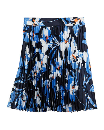 Girl's Hibiscus Print Pleated Twill Skirt, Size 7-16
